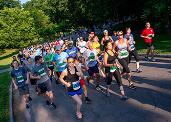 Participants round the corner as they embark on the 17th annual River Run in 2018.