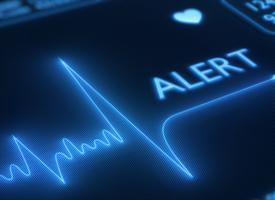 alert sign on a medical monitor