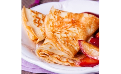 Buckwheat crepe stuffed with local summer fruit, toasted walnuts, whipped cream & honey