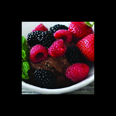 Fresh Berries with Avocado Chocolate Mousse