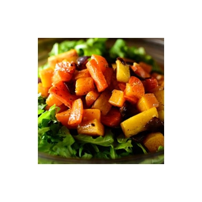 Roasted Vegetable Salad with Honey Vinaigrette and Spiced Almonds