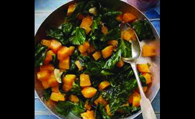Zippy Sweet Potatoes and Collard Greens