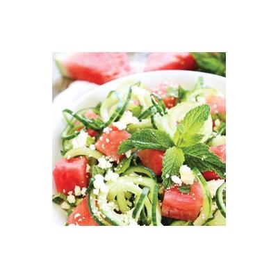 Cucumber Noodle, Watermelon, and Feta Salad