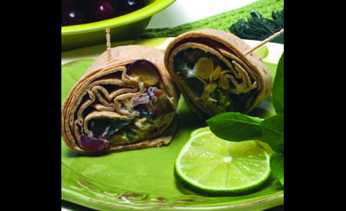 Herbed Chickpea Wraps with Grapes