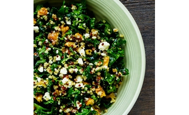 Kale and Quinoa Salad with Hemp Seed Caesar Dressing