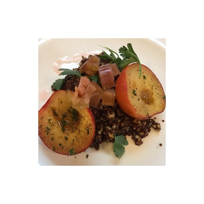 Quinoa salad with green garlic walnut vinaigrette, grilled peaches, and pickled rhubarb