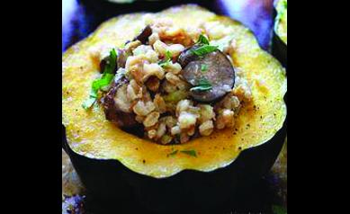 Roasted Acorn Squash with Wild Rice and Mushroom Stuffing