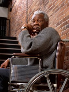 Elderly African American man in a wheelchair