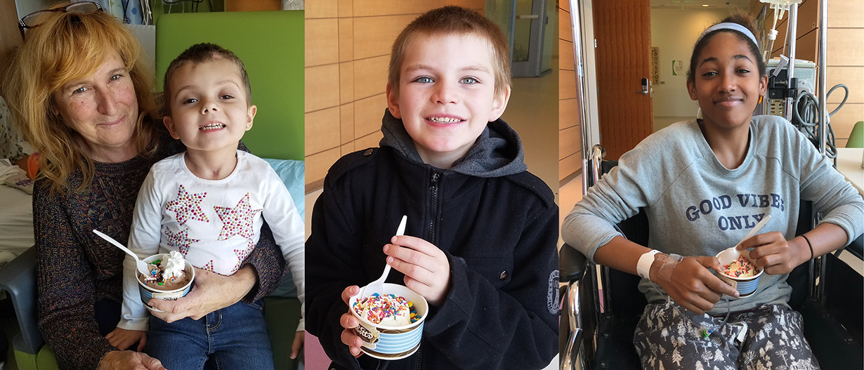 Patients and families enjoy an ice cream social.