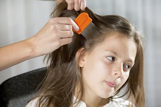 parent checking young girl for head lice