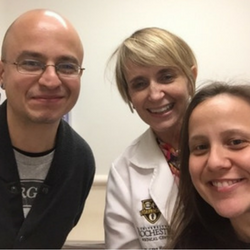 Ege Ozen with his oncologist, Dr. Kristen O'Dwyer, and wife, Sinem