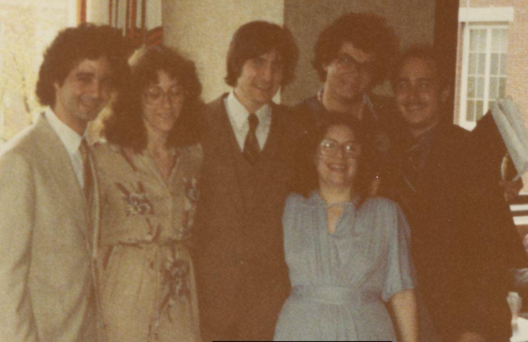 Janice Wiesman, M.D., and fellow UR Neuroscience students at graduation celebration in 1980.