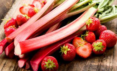 Rhubarb and strawberries