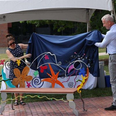 Whimsical bench celebrates pioneer in autism research