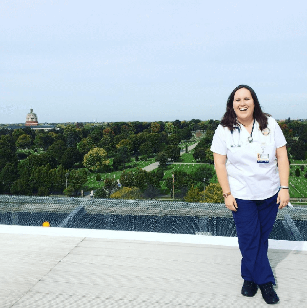 Kim Olfano as a nursing student at the University of Rochester