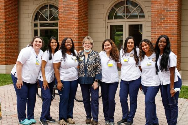 Kathy Rideout with nursing students