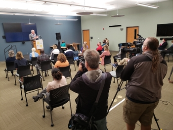 John Foxe, Ph.D., announces study at Mary Cariola Center during press conference.