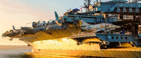 USS Midway Sunset Reflection2