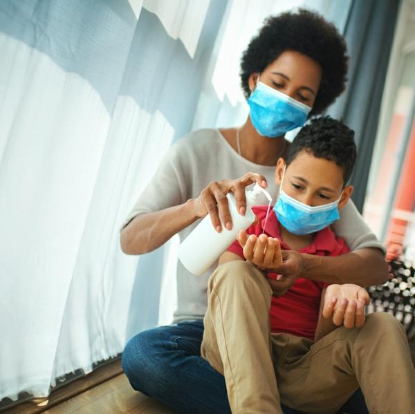 woman and child mask