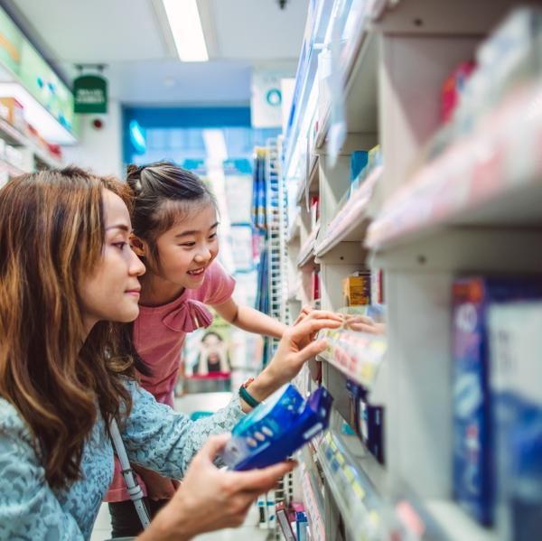 supplements vitamins drug store mom girl shopping