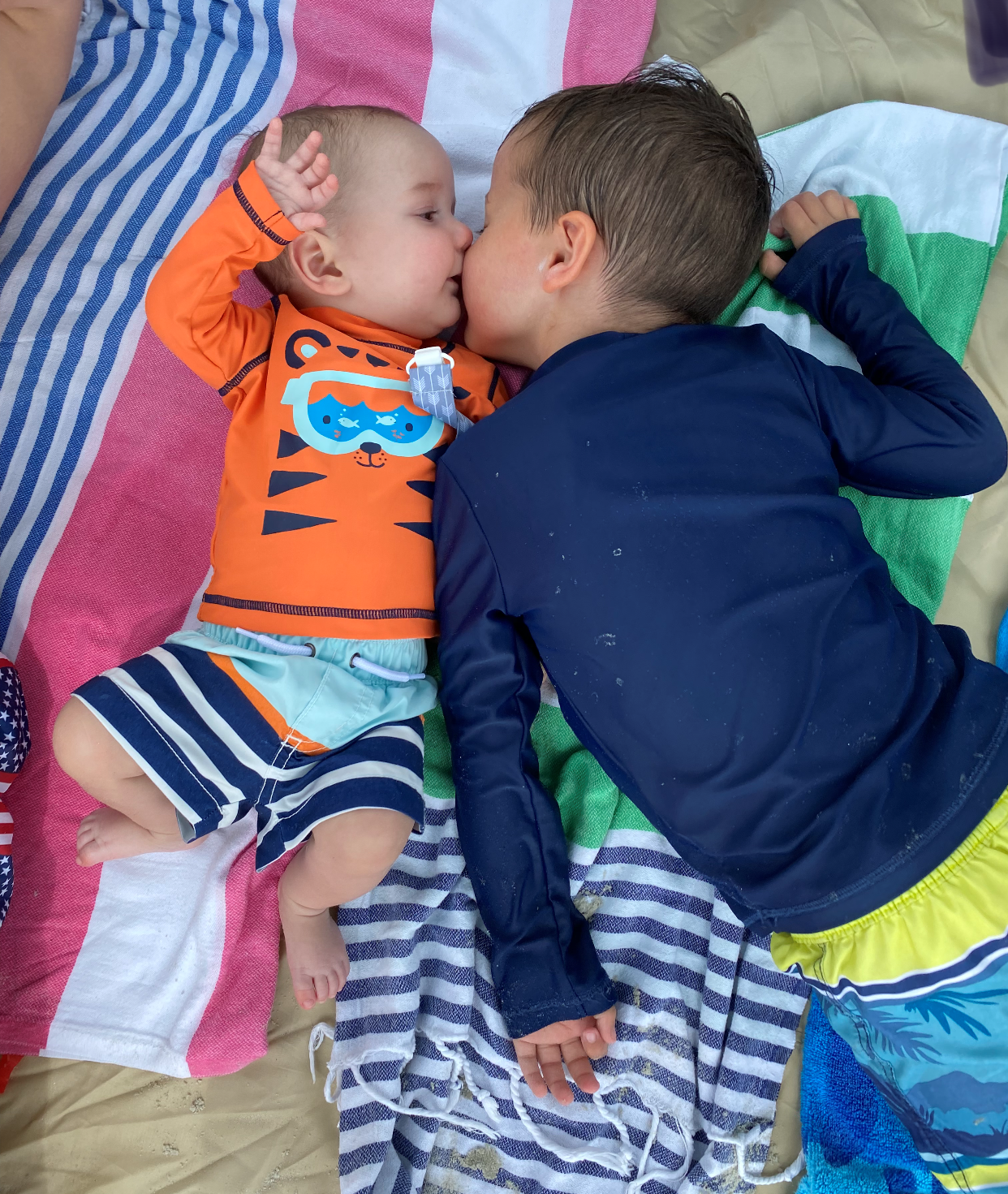 Henry and Griffin Bush at the beach
