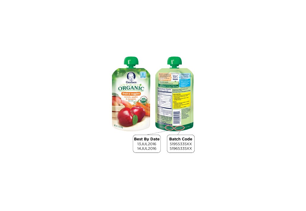 Gerber is Voluntarily Recalling Two Batches of GERBER® Organic 2ND FOODS® Pouches