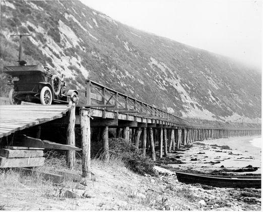 Rincon Causeway, north of Ventura, 1912