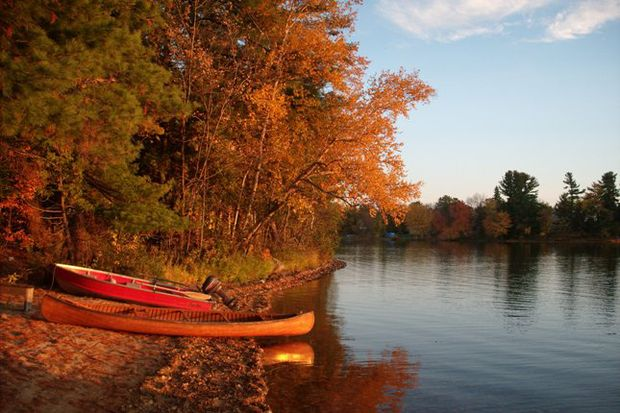 thanksgiving fall leaves canoes lake
