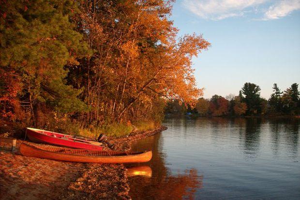 thanksgiving fall leaves canoes lake