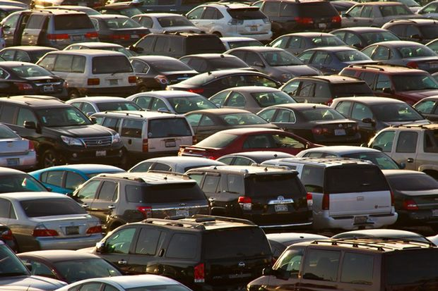 crowded parking lot