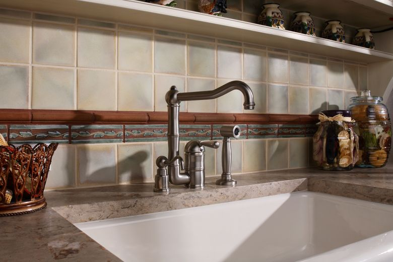 ROHL Single Lever Country Kitchen Faucet With Sidespray and Extended Spout With Country Soap/Lotion Dispenser