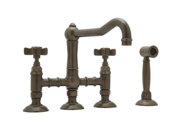 ROHL Italian Country Kitchen Collection 3 Leg Bridge Kitchen Faucet with Handspray
