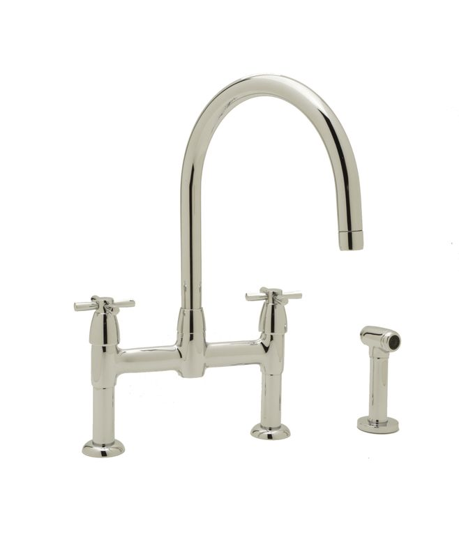 ROHL Perrin & Rowe Contemporary Bridge Kitchen Faucet with Cross Handles and Sidespray