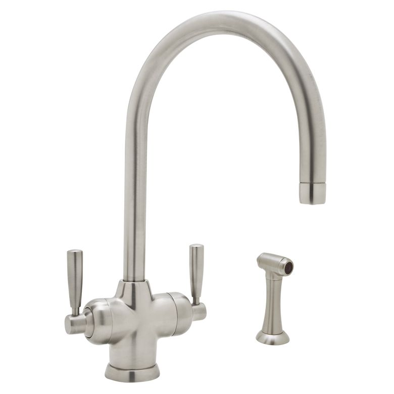 "Perrin & Rowe® Contemporary Mimas 2-Lever Kitchen Faucet With ""C"" Spout & Sidespray"