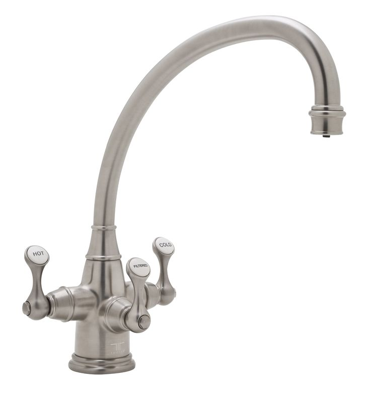 "Perrin & Rowe® Etruscan 3-Lever Kitchen Faucet With ""BROKEN NECK"" Spout"