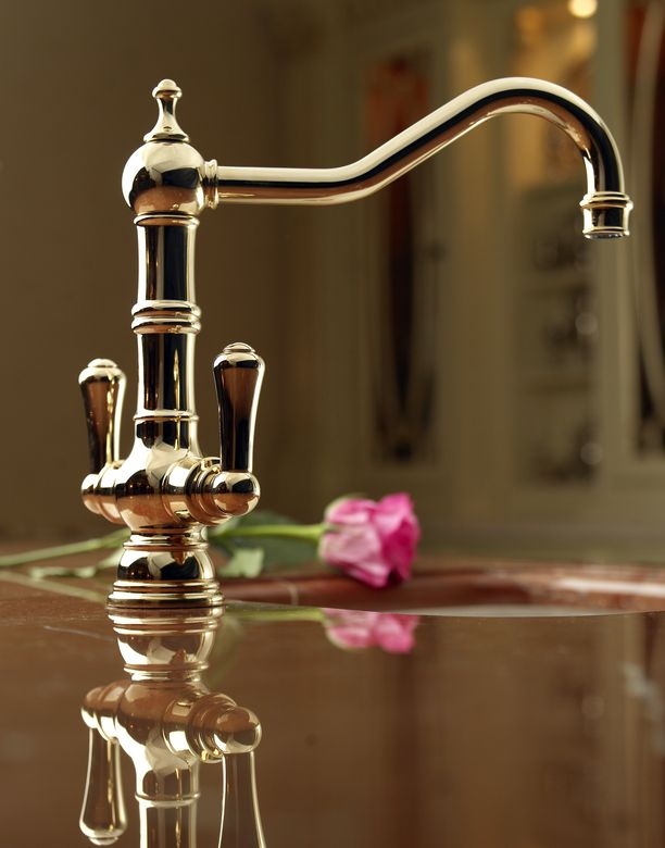 ROHL Perrin & Rowe Single Hole Mixer shown in Inca Brass