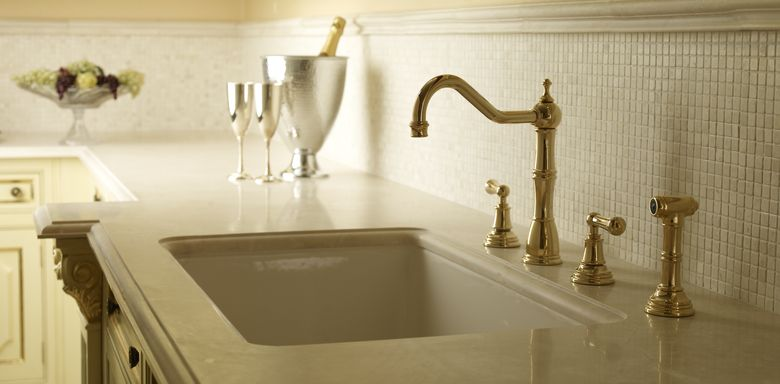 ROHL Perrin & Rowe Four-Hole Kitchen Faucet with Sidespray