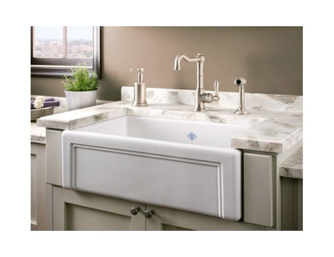 Shaws Sinks Fireclay Original Casement Edge Font Single Bowl Fireclay Apron Kitchen Sink