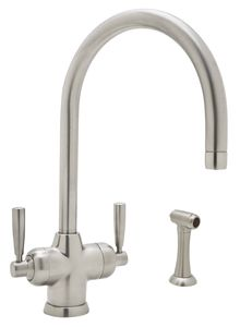 Perrin & Rowe® Contemporary Mimas 2-Lever Faucet with Sidespray