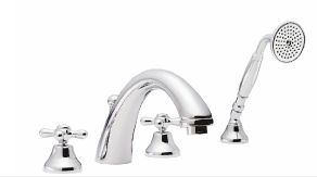 ROHL Verona 4-Hole Deck Mount C-Spout Tub Filler With Handshower