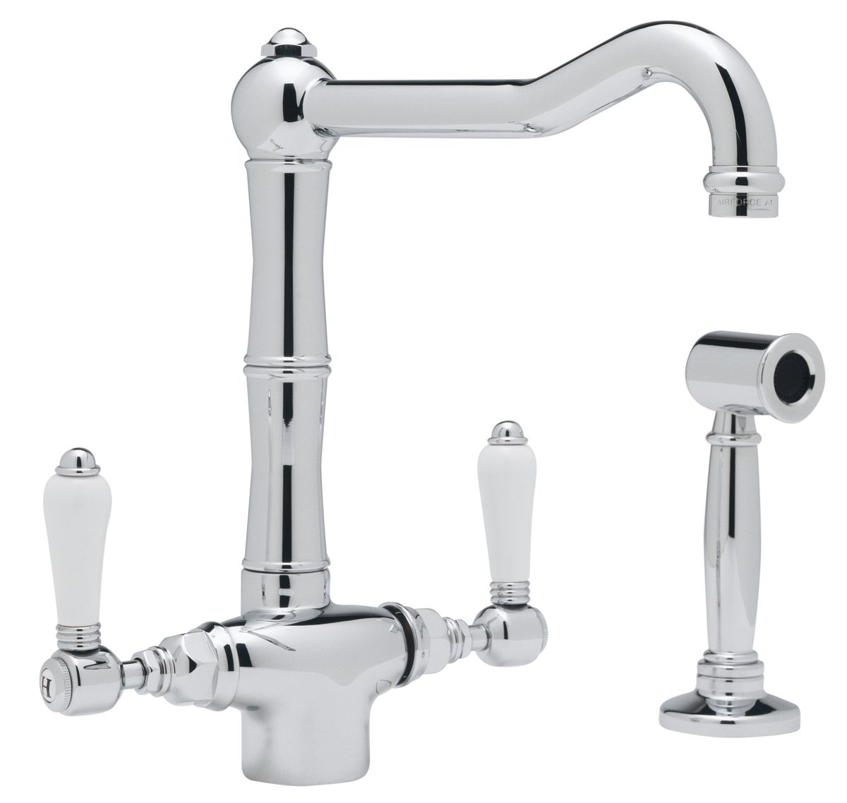Rohl country kitchen single hole column spout kitchen faucet with sidespray