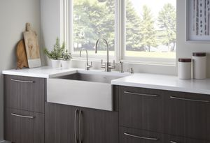 ROHL Perrin & Rowe Contemporary Kitchen Faucet and Stainless Steel Apron Front Kitchen Sink