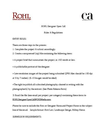 Designer Open Call - Rules & Regulations