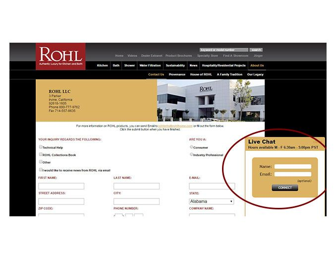 ROHL Customer Service Live Chat