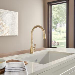 Perrin & Rowe Georgian Era Pull-Down Kitchen Faucet_PC_U4744EB_Lifestyle Image