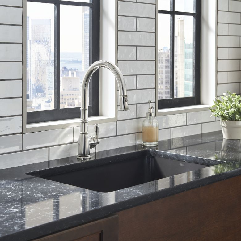 Perrin & Rowe Georgian Era Pull-Down Kitchen Faucet_PC_U4744APC_Lifestyle Image