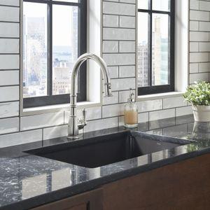 Perrin & Rowe Georgian Era Pull-Down Kitchen Faucet_PC_U4744APC_Lifestyle Image