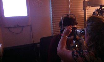 VSP optometrist Karena Strain, OD, examines a Pennsylvania resident