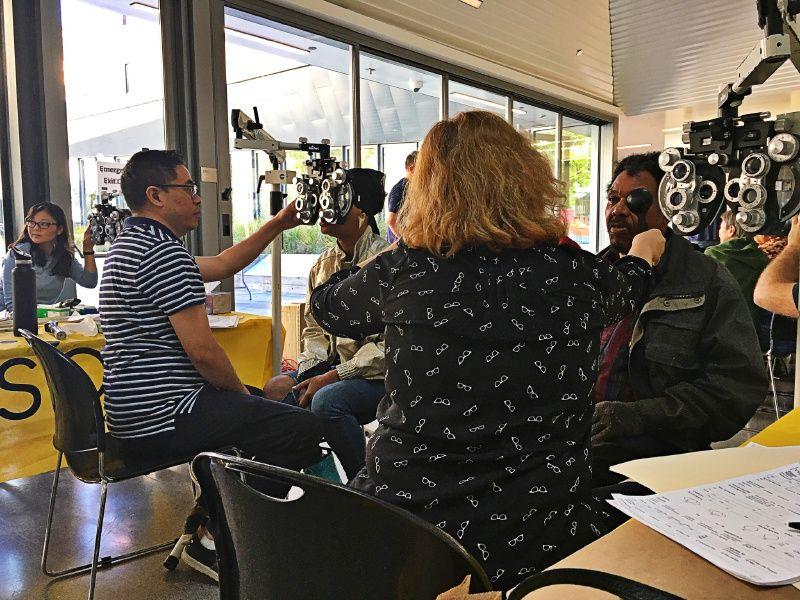 San Francisco patients receving eye exams