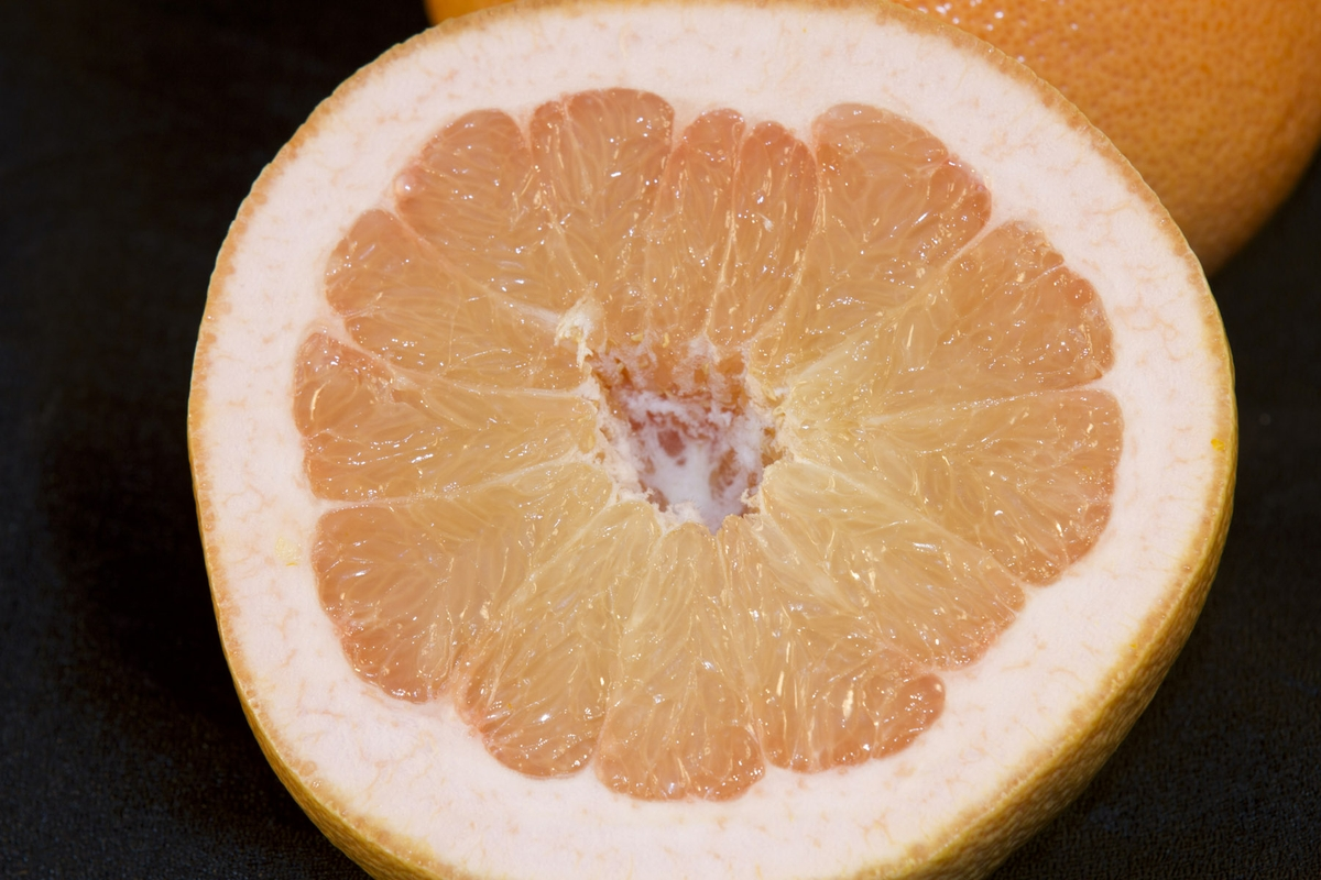 Grapefruit - closeup on half